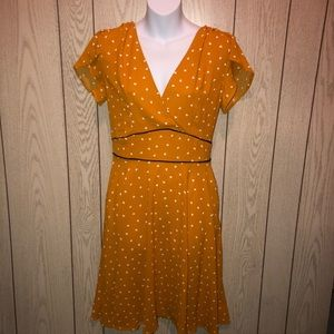 Dresses & Skirts - Nwot mustard white hearts dress